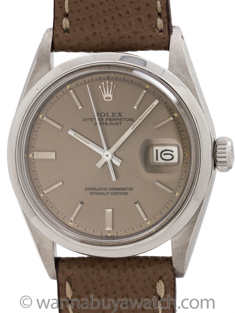 Rolex Datejust ref 1600 Smooth Bezel Taupe Dial circa 1971