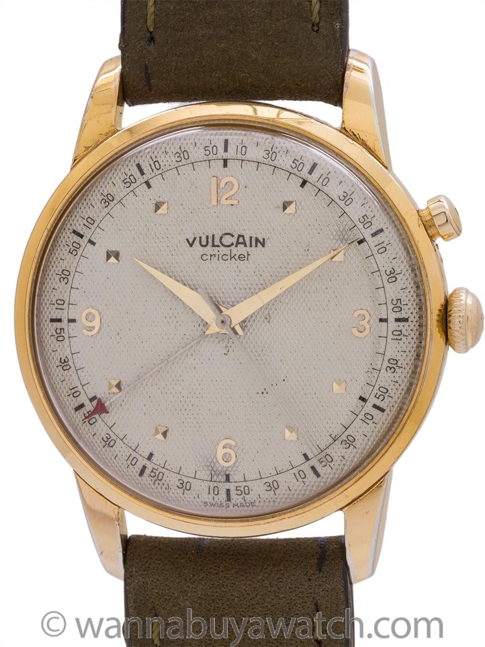 Vulcain Cricket Oversize Alarm Waffle Dial circa 1950's