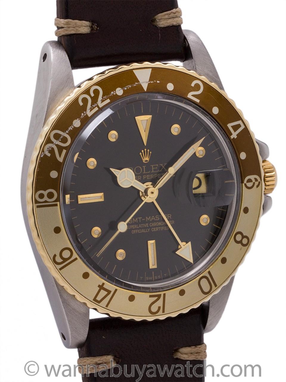 "Rolex 2 Tone GMT ref 1675 Rootbeer ""Dark Chocolate"" circa 1978"