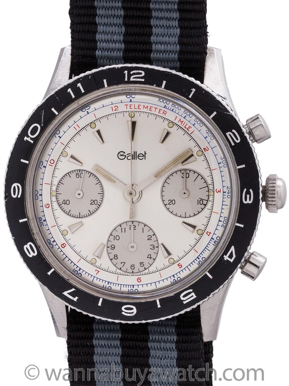 Gallet Multichron Pilot Chronograph circa 1979