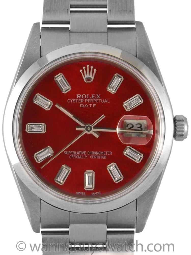 "Rolex Oyster Perpetual Date ref 15200 ""Candy Red"" MOP Baguette Diamond Dial circa 1996"