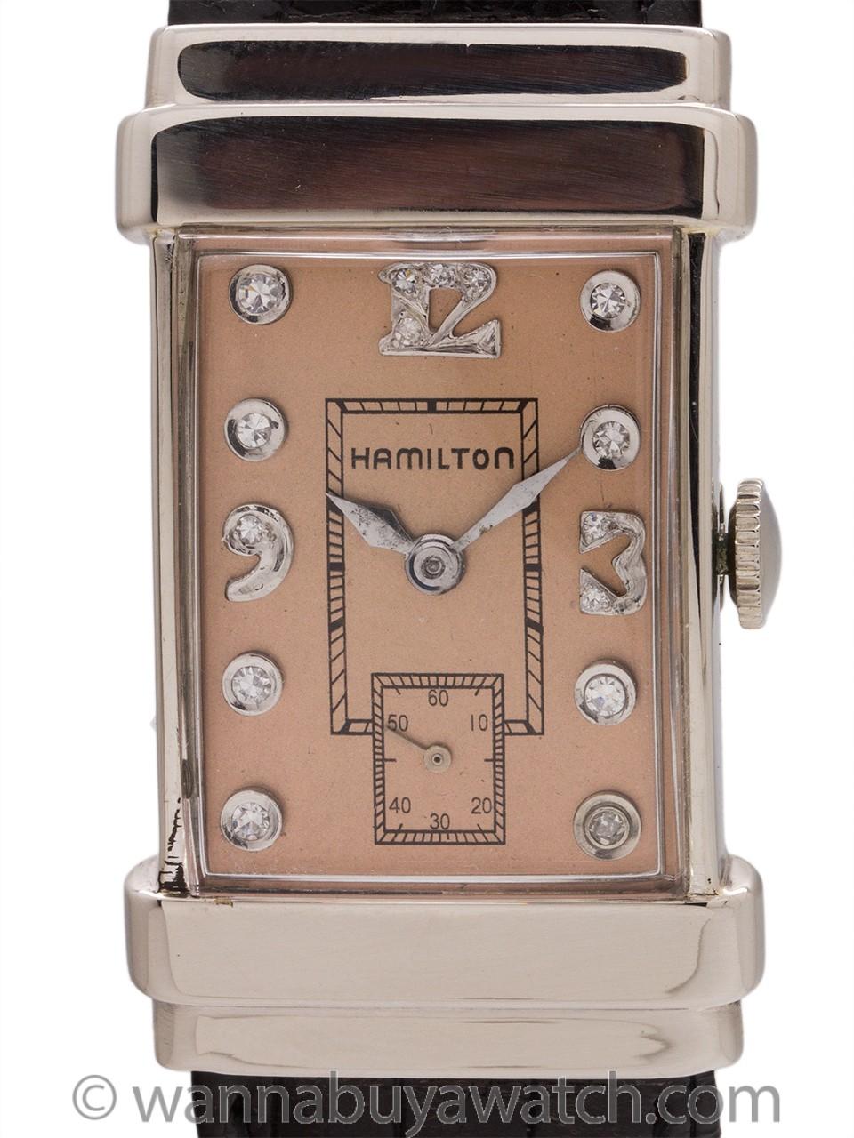 Hamilton 14K WG Top Hat Diamond Dial circa 1950's