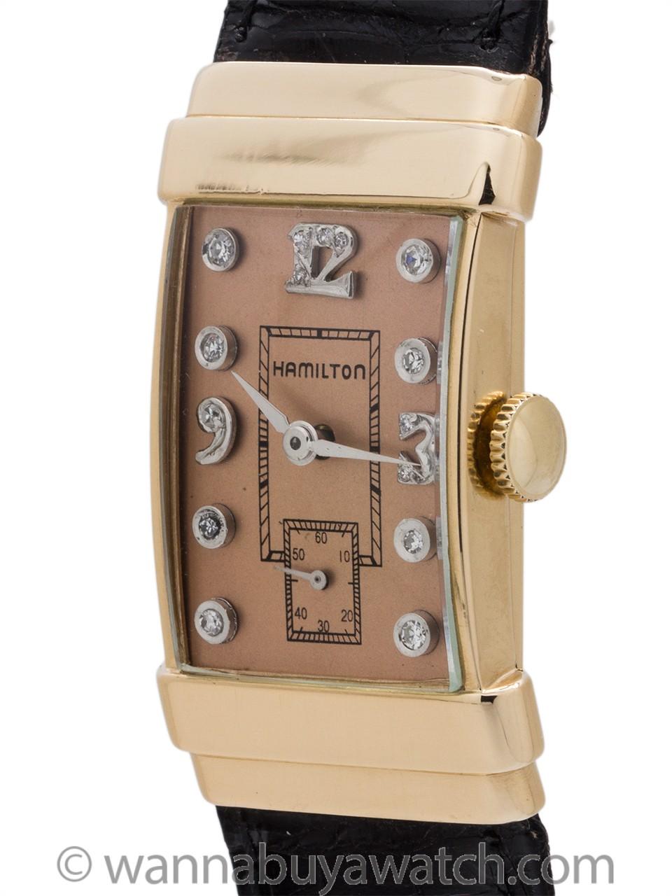 Hamilton 14K YG Top Hat Diamond Dial circa 1950's