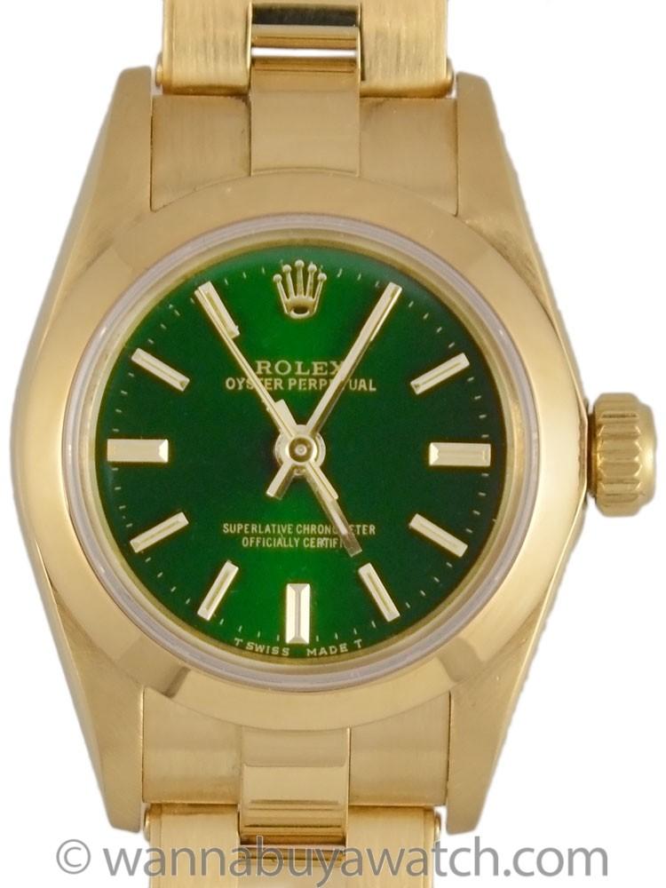 """Lady Rolex 18K YG Oyster Perpetual Custom """"Jade"""" Green circa 1991"""