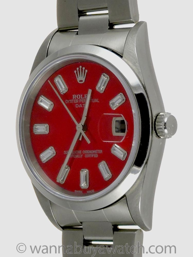 """Rolex Oyster Perpetual Date ref 15200 """"Candy Red"""" MOP Baguette Diamond Dial circa 1996"""