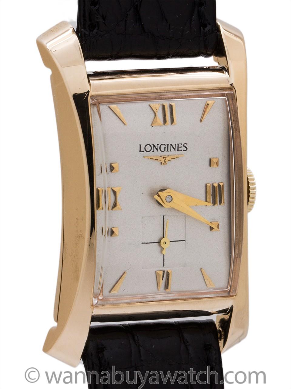 "Longines 14K YG Hourglass 1950's ""Moderne"""