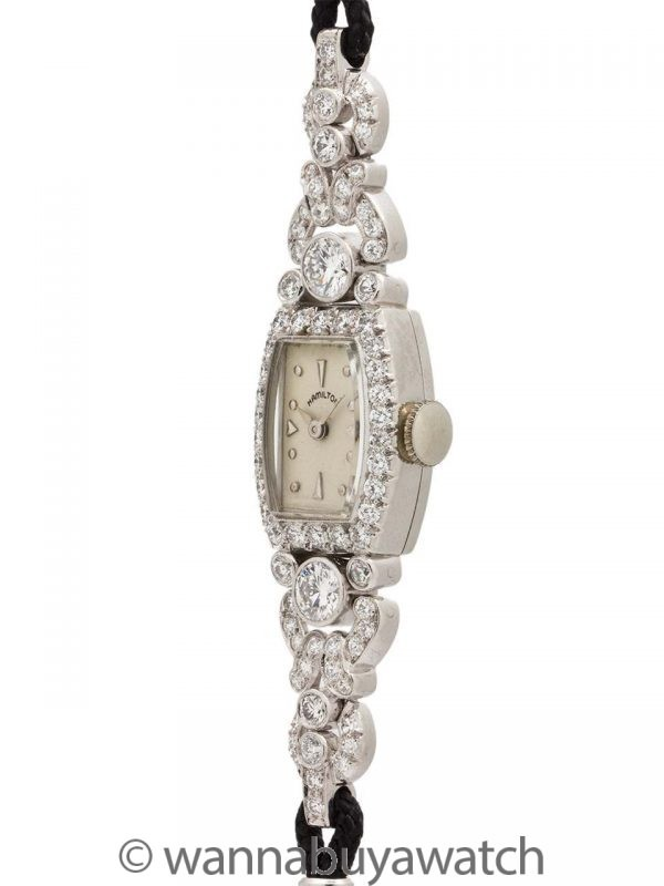 Lady Hamilton Platinum & Diamond Dress Watch 1.50ct circa 1950's