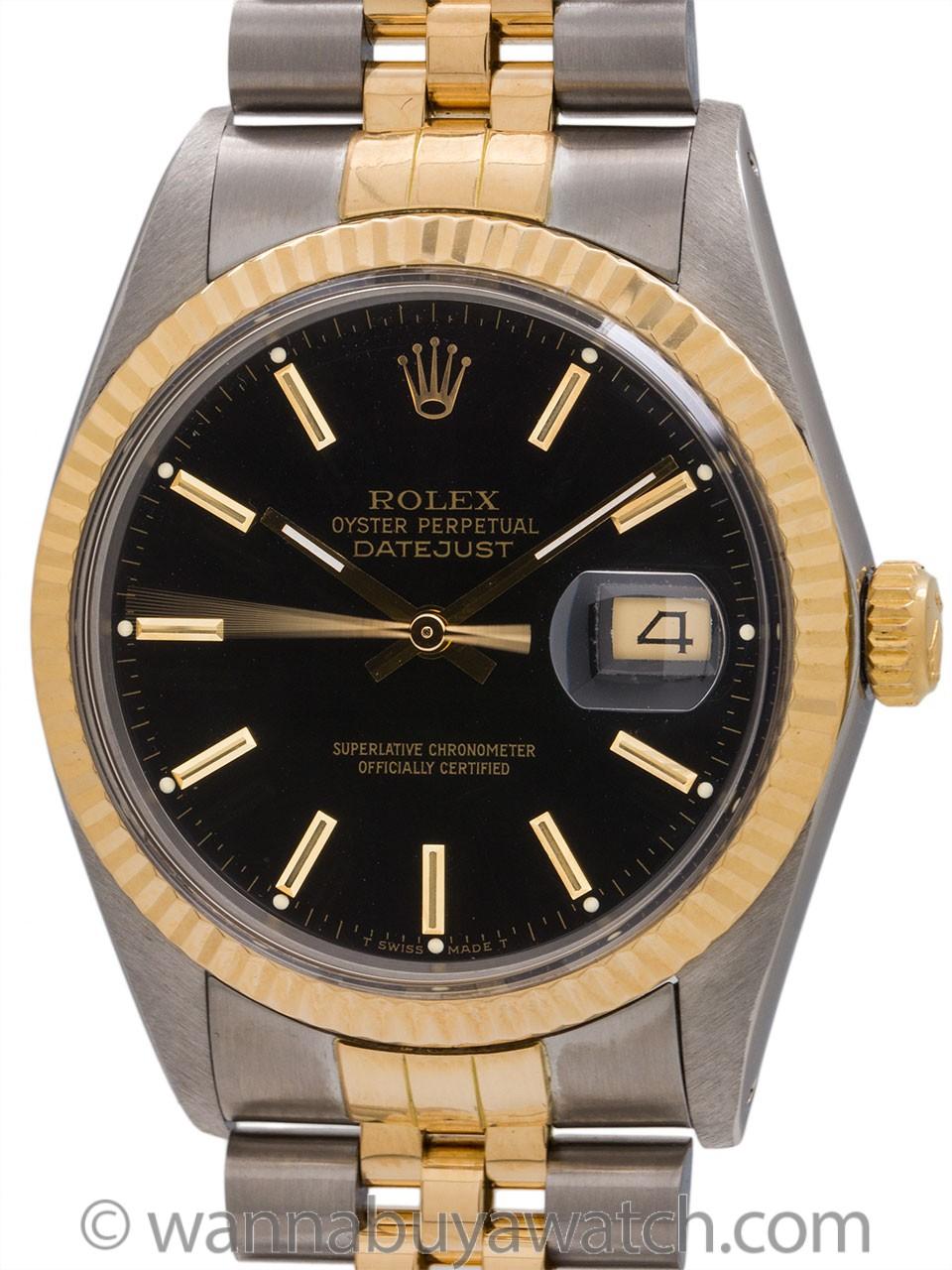 Rolex Datejust ref 16013 SS/18K YG Mint! circa 1986 B & P