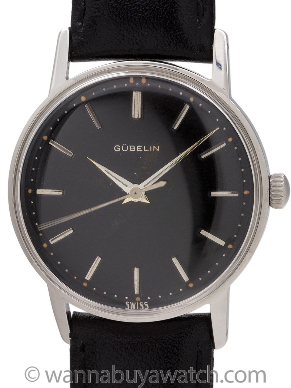 Gubelin Stainless Steel Black Original Dial circa 1960's
