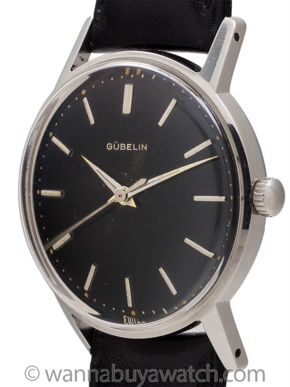 Gubelin Stainless Steel Black Original Dial circa 1960's