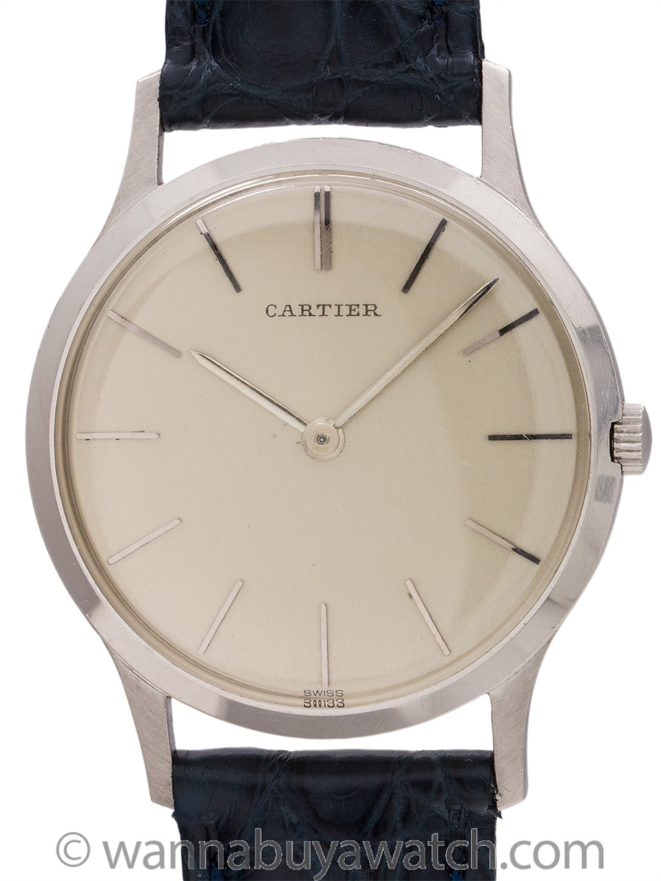 Rare European Watch & Clock Cartier Platinum Dress Model circa 1960's