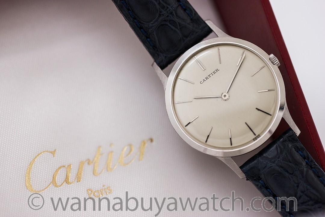 Rare European Watch & Clock Cartier Platinum Dress Model circa 1960's