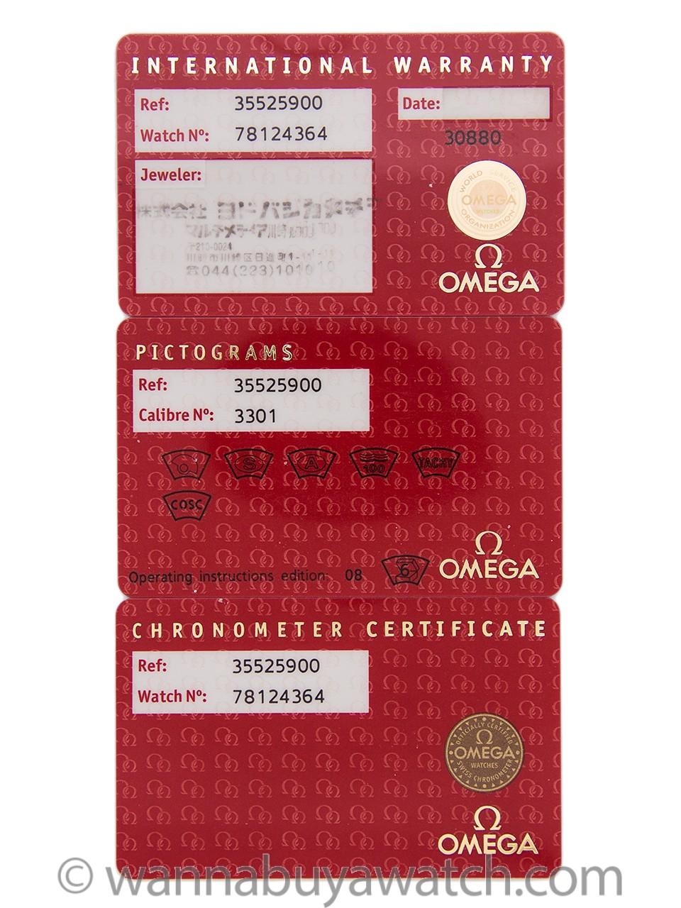 Omega Speedmaster Automatic Racing ref# 359.259 circa 2006 Warranty Cards