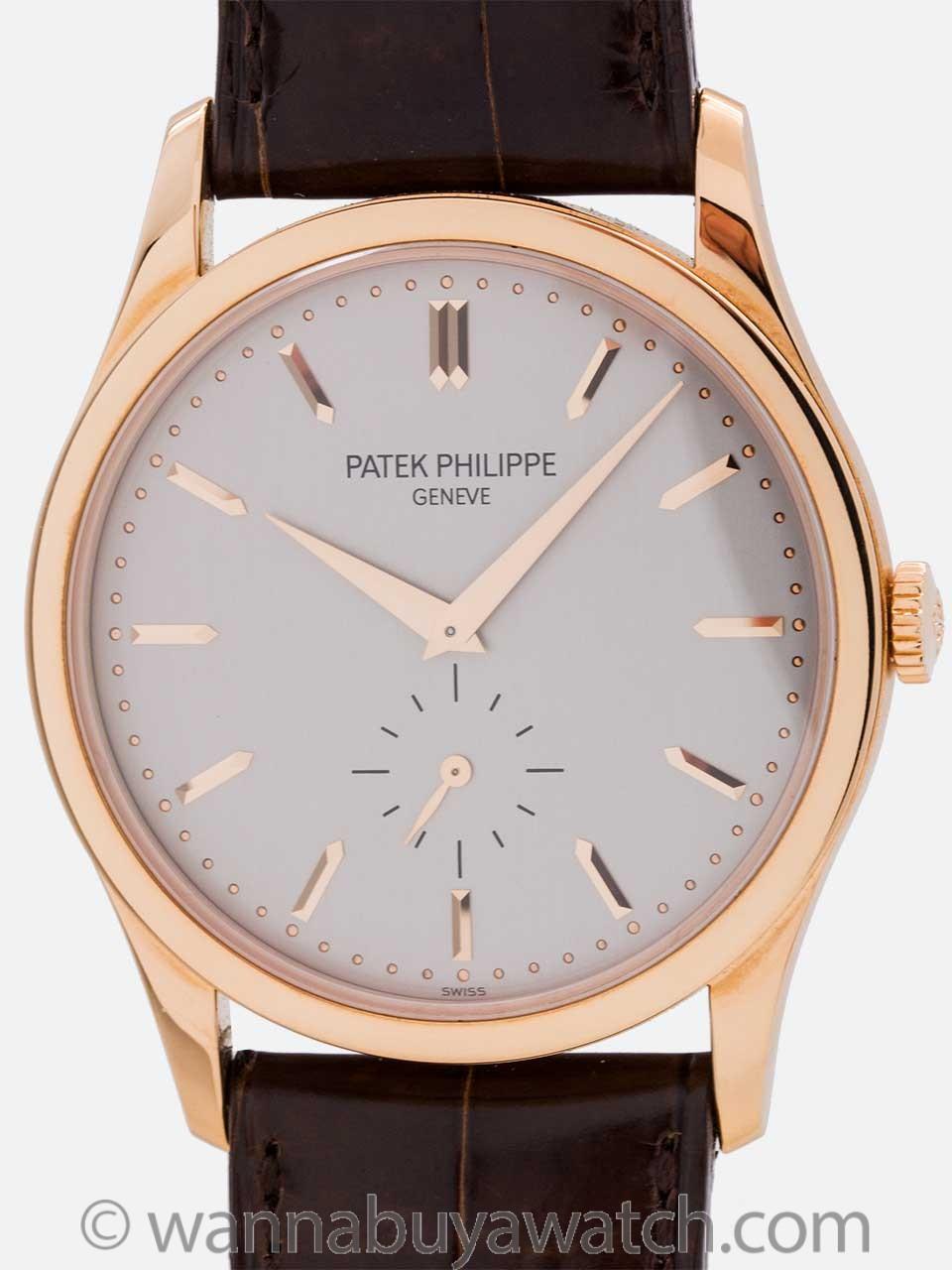 Patek Philippe 18K Rose Gold Calatrava ref 5196R circa 2000s