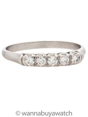 Vintage Platinum Five Stone Diamond Band 0.25ct circa 1940s