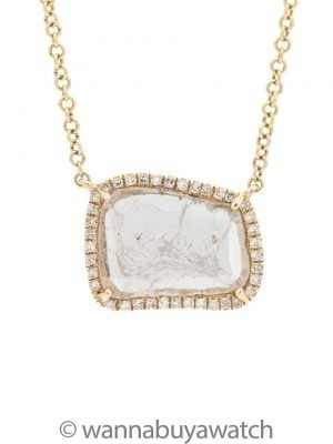 Modern Diamond Slice Pave 14K YG Pendant Necklace 0.66ct