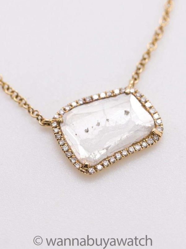 Modern Diamond Slice Pave 14K YG Pendant Necklace 0.66ct