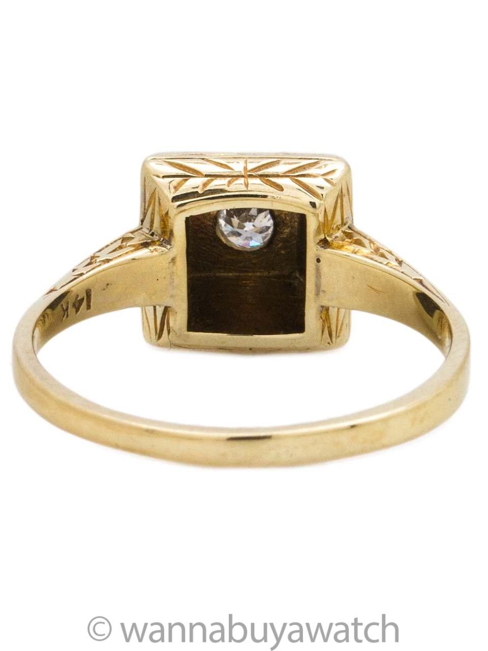 Vintage Engagement Ring 14K 0.10ct OEC J-I2 circa 1920s