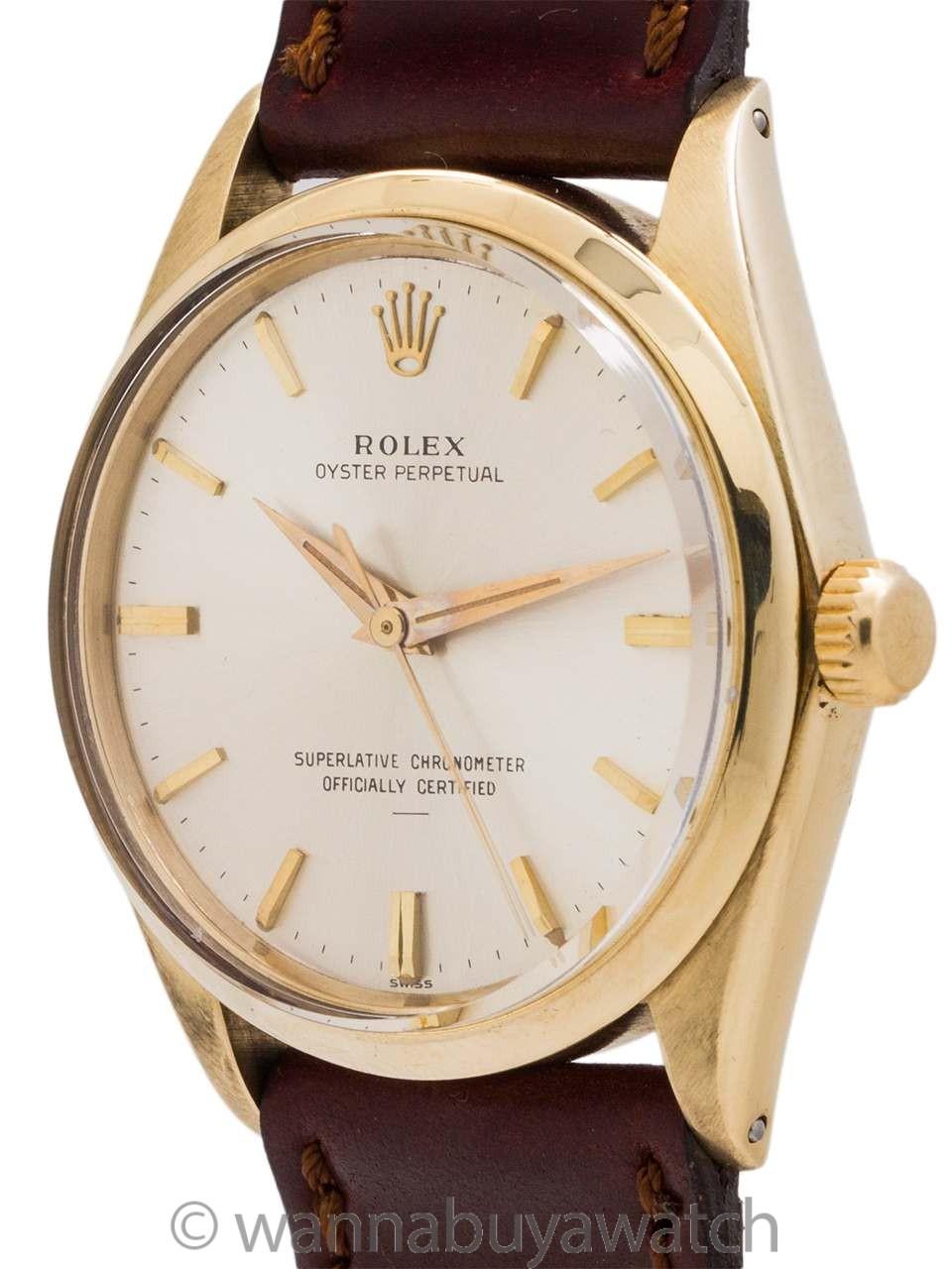 "Rolex 14K YG Oyster Perpetual ref 1002 ""Underline"" Dial circa 1964"