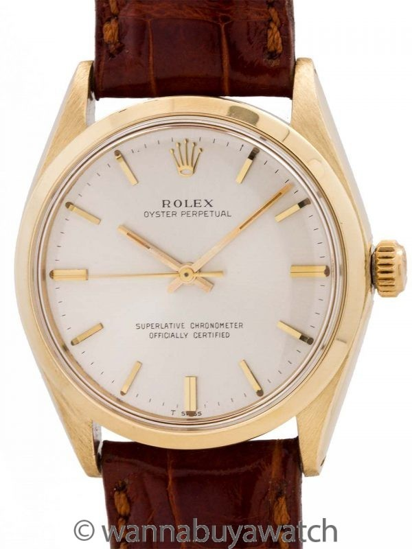 Rolex 14K YG Oyster Perpetual ref 1002 circa 1965 Box & Papers