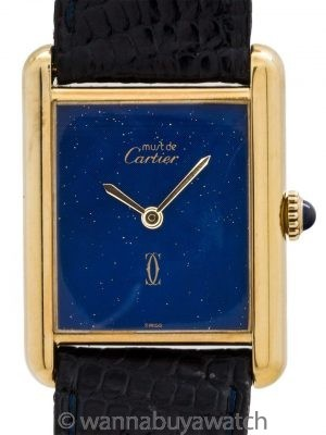 Cartier Man's Tank Louis Vermeil Lapis Dial circa 1970's