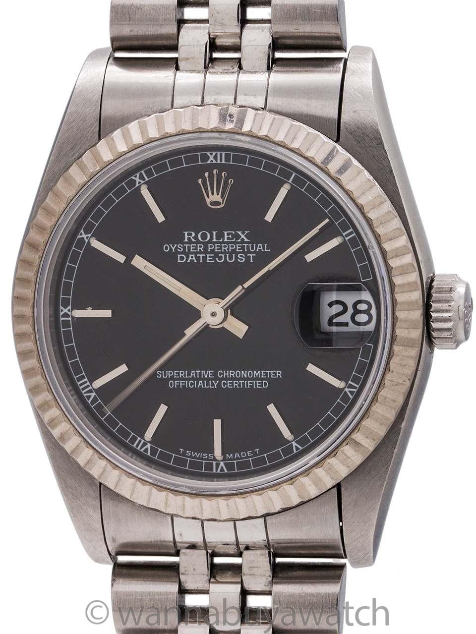 Rolex Midsize Datejust ref# 68274 SS/18K WG Black Dial circa 1993