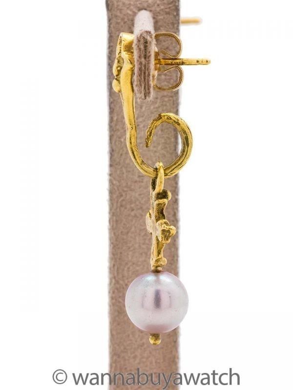 18K YG Dangle Pearl Cross Earrings circa 2000s