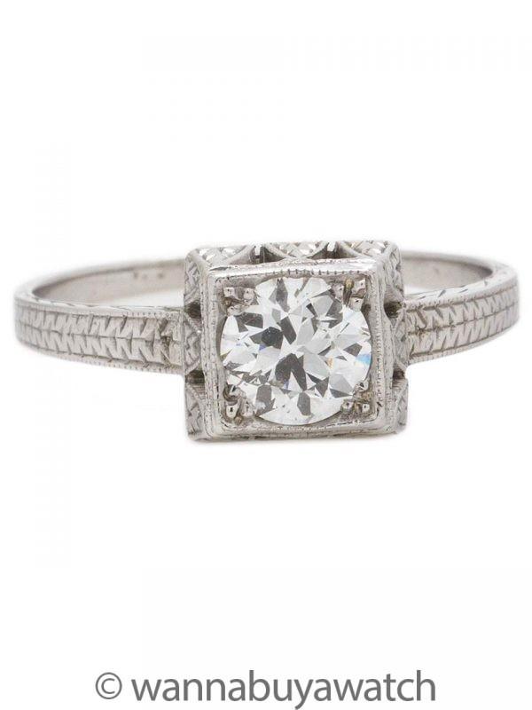 Vintage Engagement Ring 18K WG 0.79ct OEC E-SI1 circa 1920s