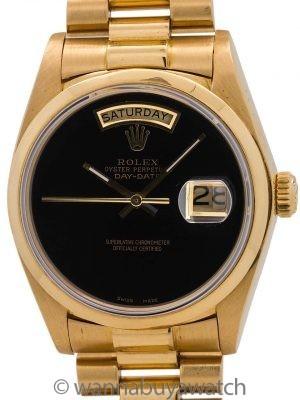 Rolex 18K YG Day Date ref 18038 circa 1979 Onyx