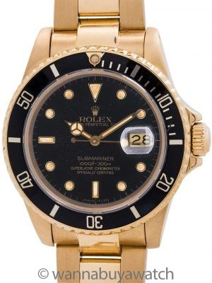 Rolex Submariner ref 16808 18K YG Transitional model circa 1984
