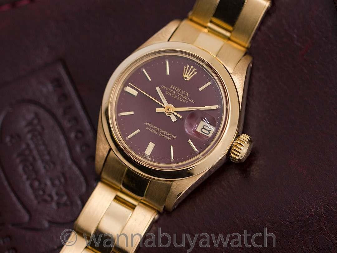 """Lady Rolex Date """"Stella Dial"""" ref 6916 18K YG circa 1974"""
