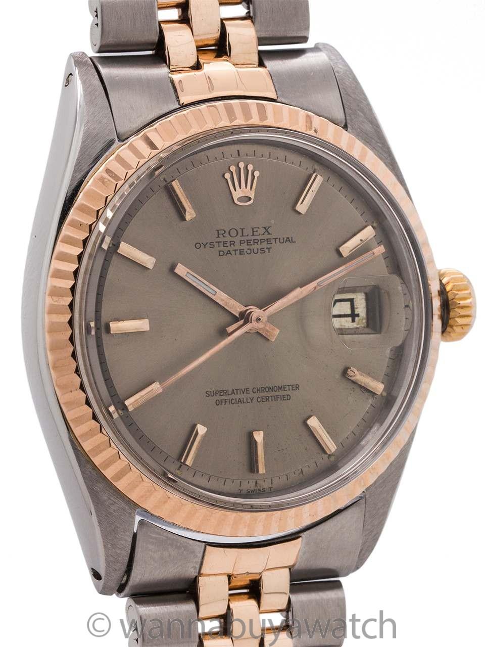 Rolex SS/14K Rose Gold Datejust ref 1601 circa 1968