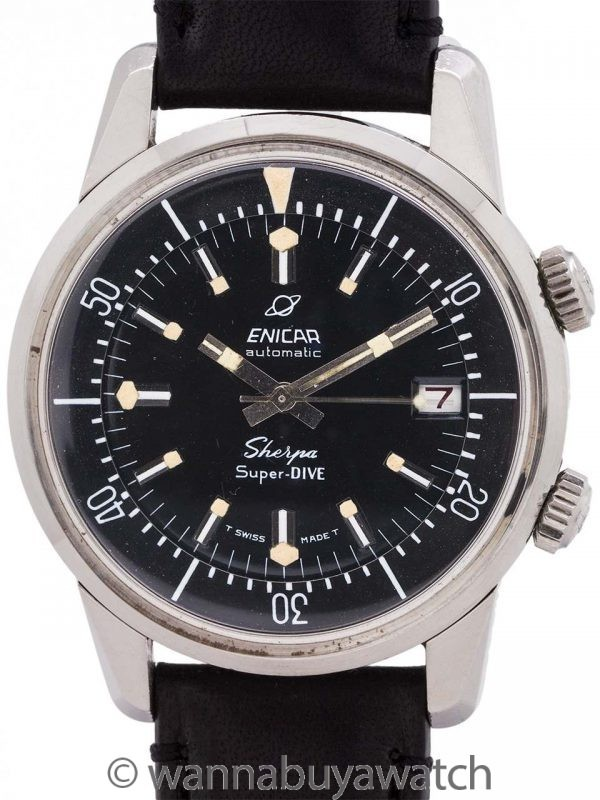 Enicar Sherpa Super Dive Stainless Steel circa 1970's