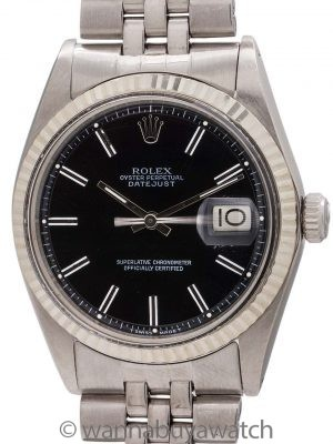 Rolex Datejust ref 1601 Black Pie Pan Dial circa 1977