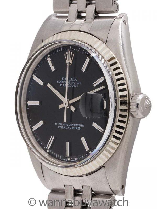 Rolex Datejust ref 1601 Black Pie Pan Dial circa 1977