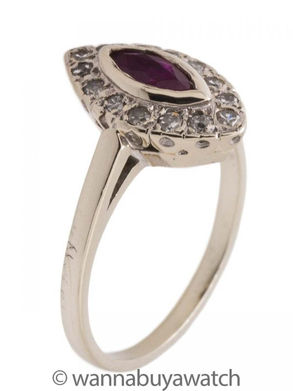 Vintage 14KW Marquise Ruby and Diamond Ring circa 1950s