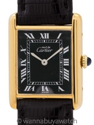 Cartier Man's Tank Louis Black Roman Dial circa 1980's