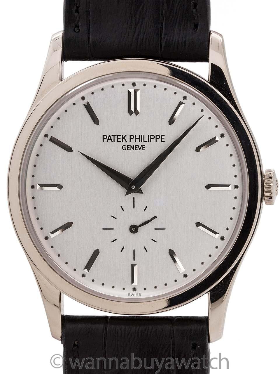 Patek Philippe 18K White Gold Calatrava ref 5196G Box & Papers