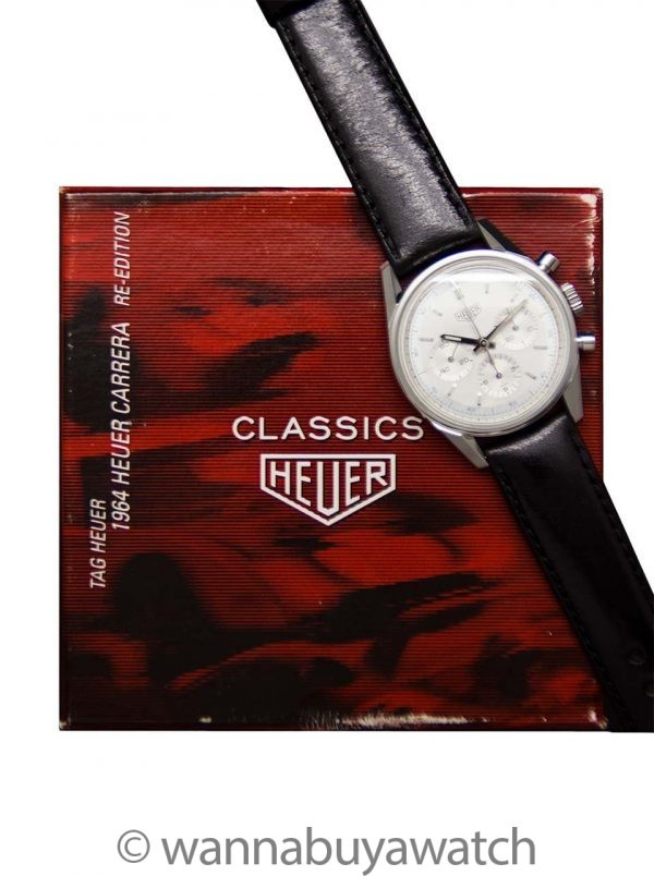 Heuer Carrera Classic 1964 Reissue Silver Dial circa 1990's with Box & Booklet