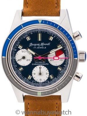 Jacques Monnat Incabloc Chronograph circa 1970's Mint!