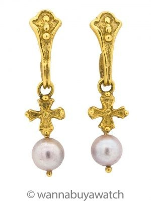 18K YG Dangle Pearl Cross Earrings circa 2000s