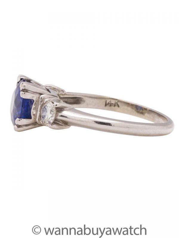 Vintage 14K WG Ceylon Sapphire Diamond Ring circa 1950s
