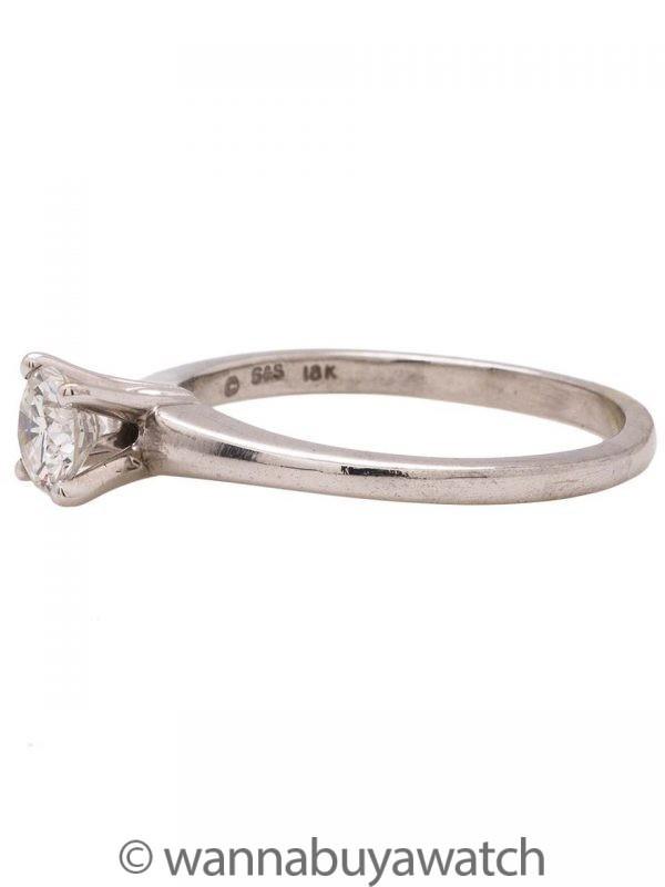 18K White Gold Diamond Solitaire Hearts & Arrows Cut 0.51ct F-VS2