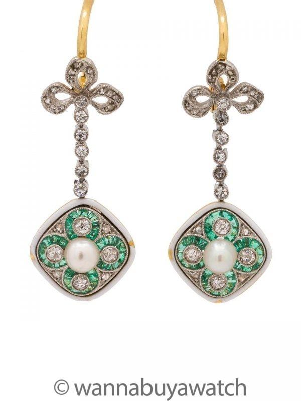 Antique Edwardian Dangle Earrings Platinum & 18K Pearls Emeralds OEC Diamonds 1.00ct