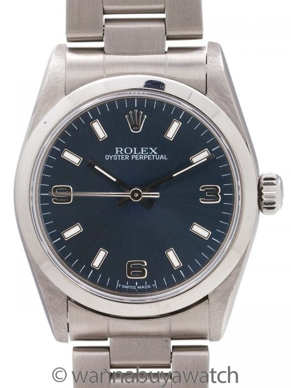 Rolex Oyster Perpetual Midsize ref 77080 Blue circa 2001 Papers
