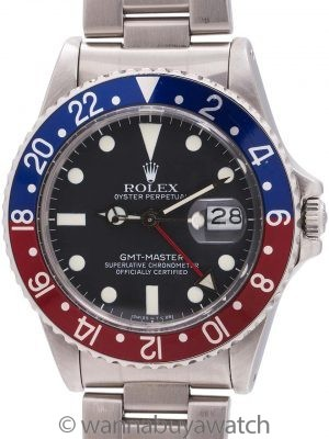 Rolex GMT ref 16750 Stainless Transitional Model circa 1982