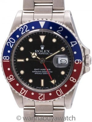 Rolex GMT Stainless Steel ref 16750 Transitional Model circa 1987