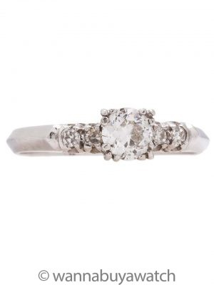 Vintage Engagement Ring Platinum 0.40ct OEC G-VS2 circa 1950s