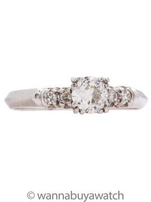 Vintage Engagement Ring Platinum 0.40ct OEC G-VS2 circa 1950s