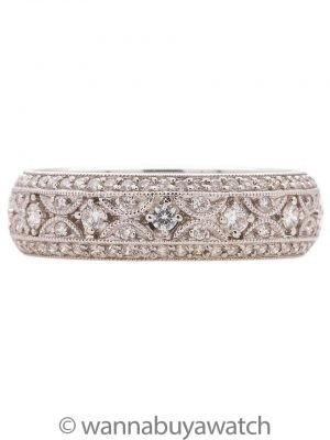 Vintage Style 18K WG Pave Diamond Eternity Band 1.07ct E/F-VS circa 2000s